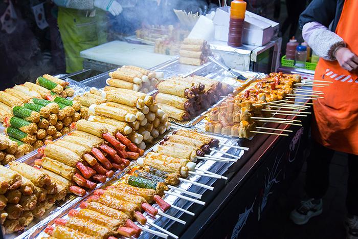 myeongdong street market food seoul