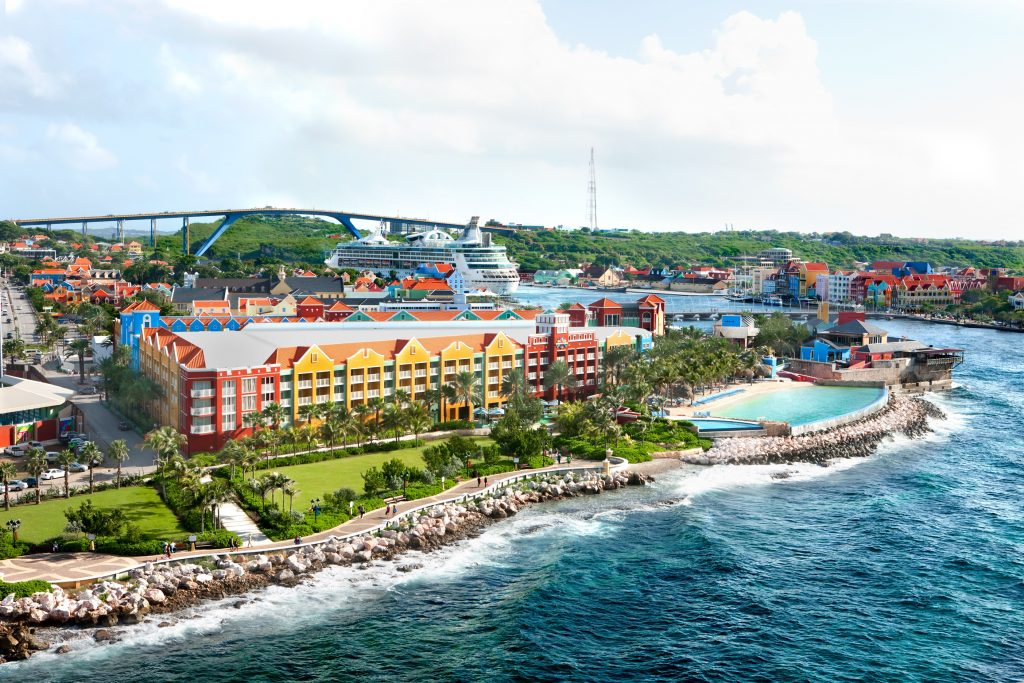 view of downtown curacao with cruise ship