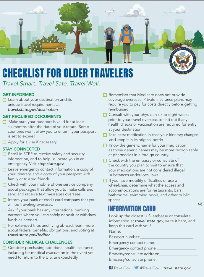 Checklist for older travelers