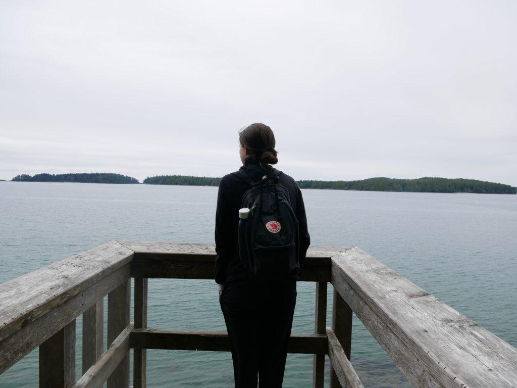 person hiking enjoying ocean view