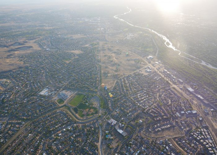 aerial views hot air balloon