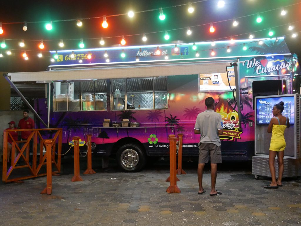 food truck at night in curacao