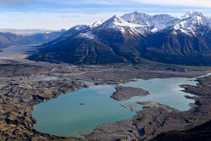 Aerial view of turquoise glacier lake in Kluane Nationalpark