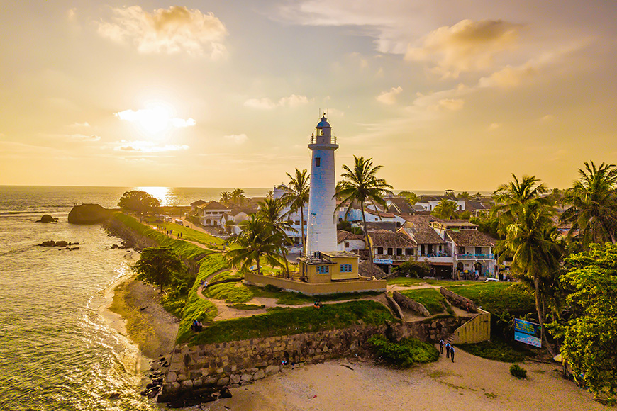 Lighthouse from Galle Town in Sri Lanka in 15.09.2018 in Ceylon. Village pictures of the old Galle fort in Southwest.