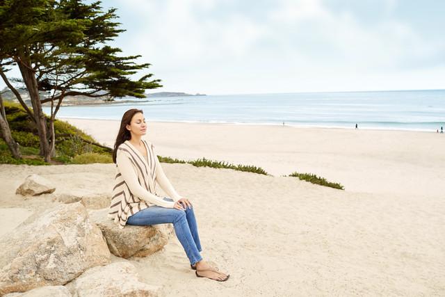 Beach meditation in carmel-by-the-sea
