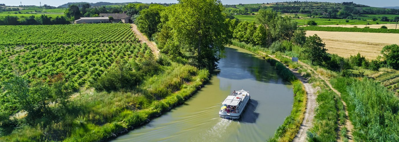 barge cruise aerial view of canal