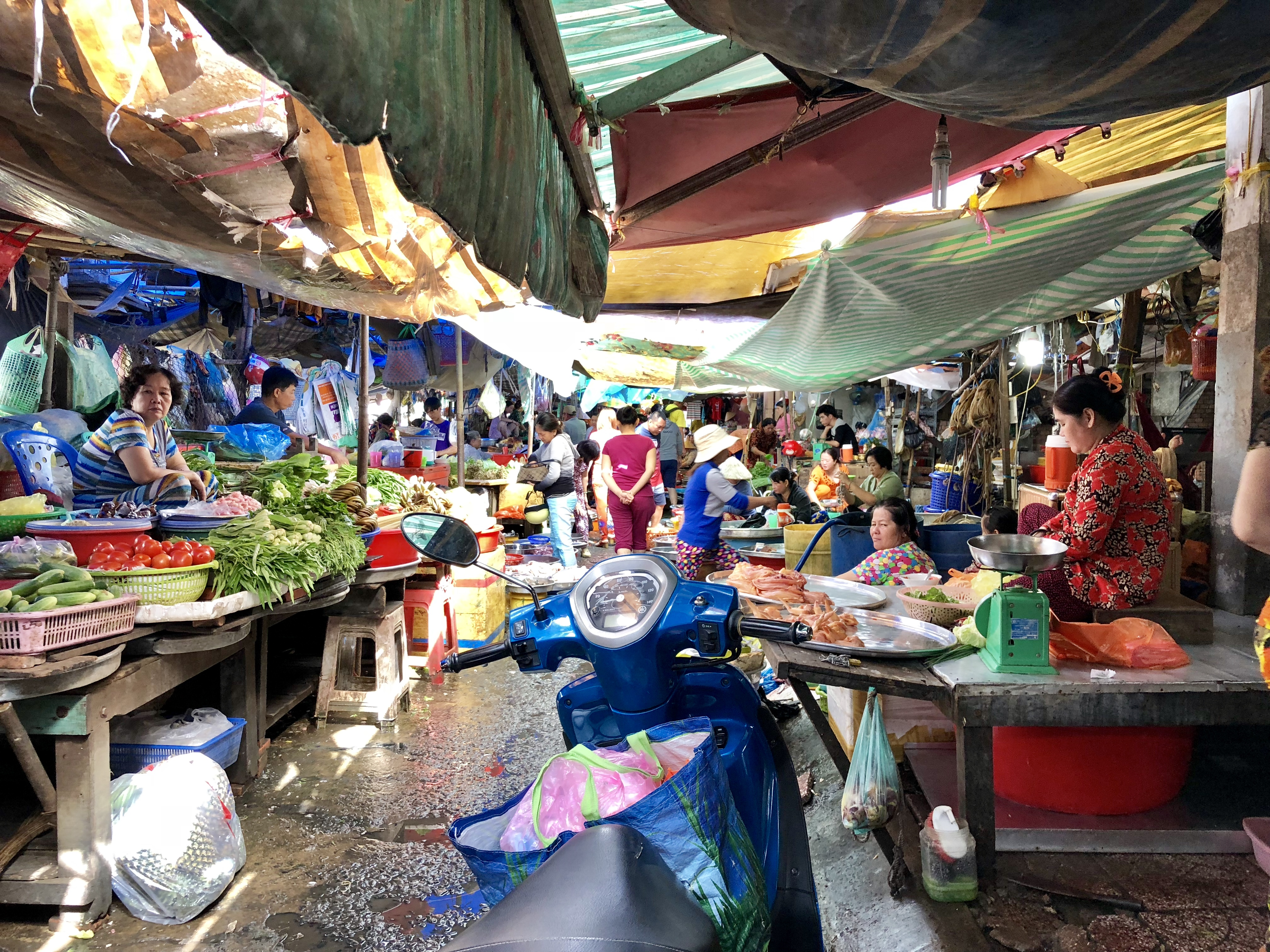 view of the local market in chau doc, vietnam