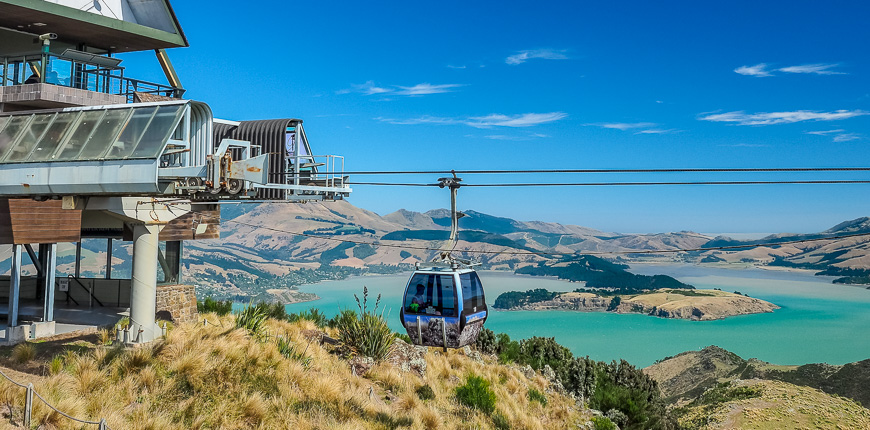 Aerial view of the christchurch gondola and lyttelton port from hills in new zealand
