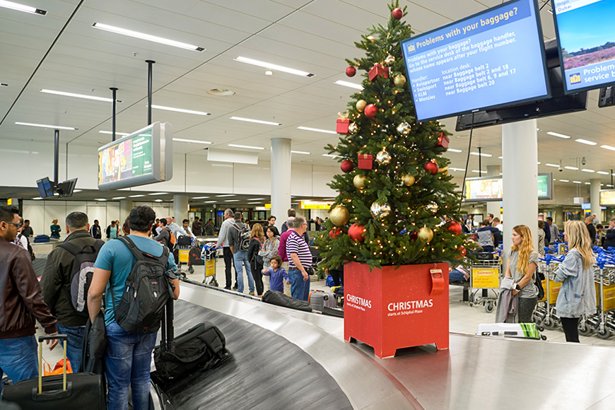 baggage claim christmas tree decor