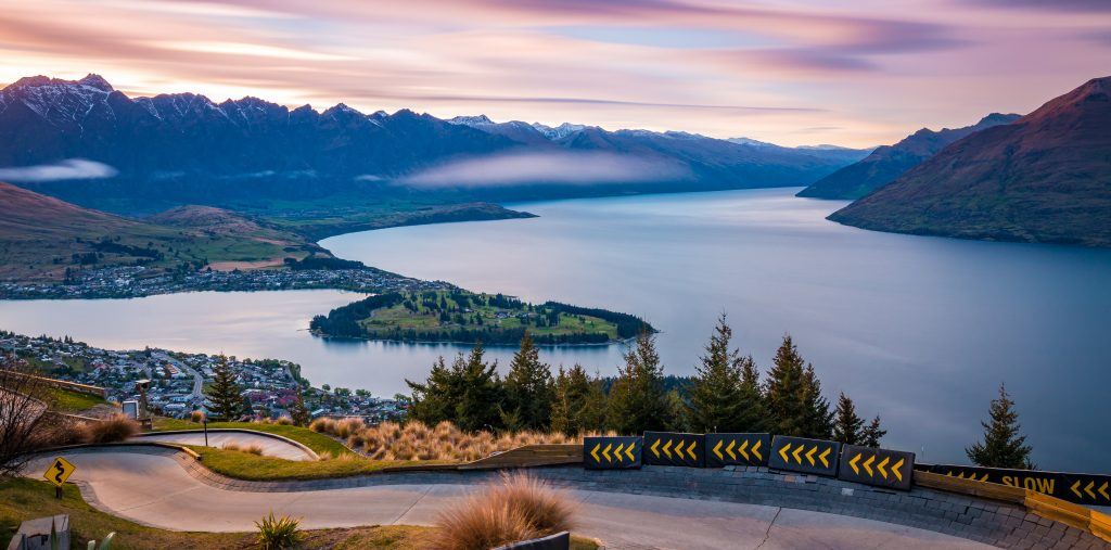 Queenstown from the skyline luge at sunrise