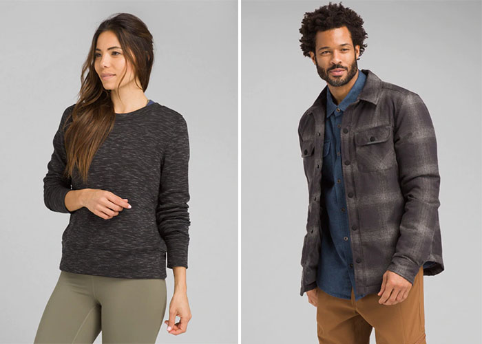 sweater and shirt from prAna.