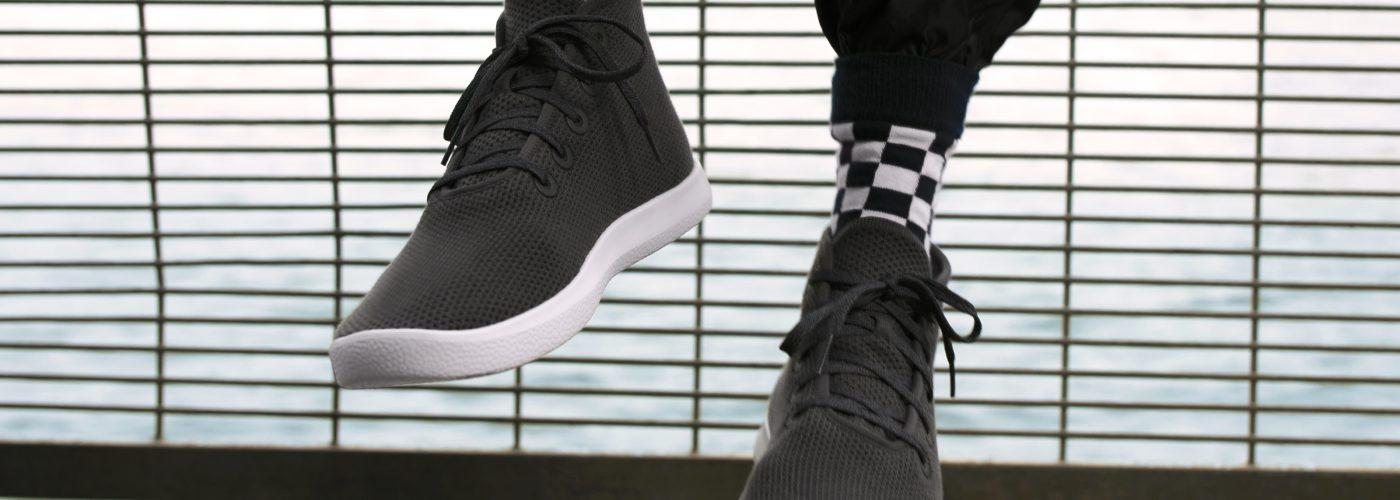 a pair of allbirds high top sneakers
