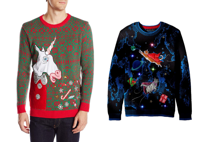 unicorn vomit christmas sweater and flying space cats sweater