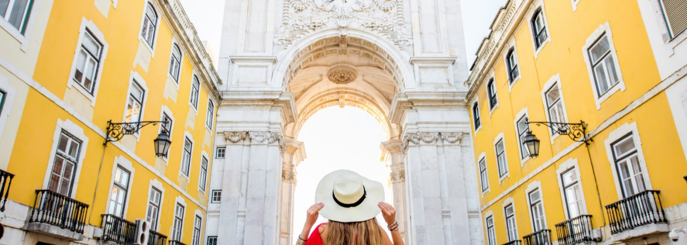 Tourist looking at European Landmark