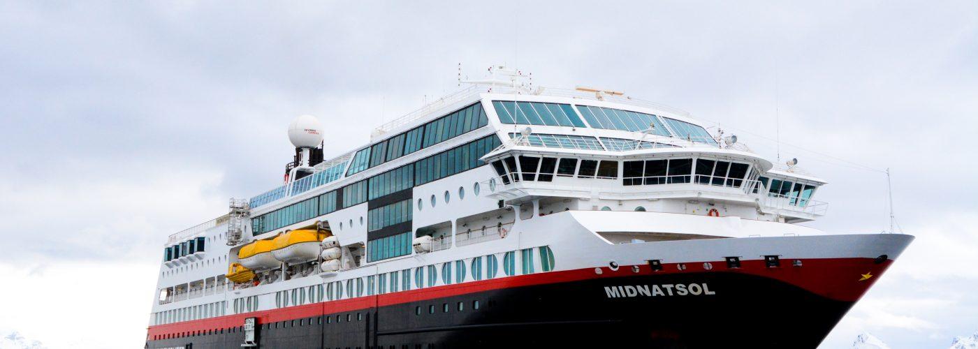 Hurtigruten Midnatsol Cruise Ship in Antarctica