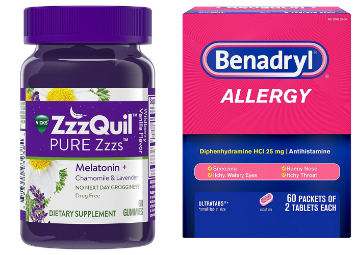 ZzzQuil and benadryl