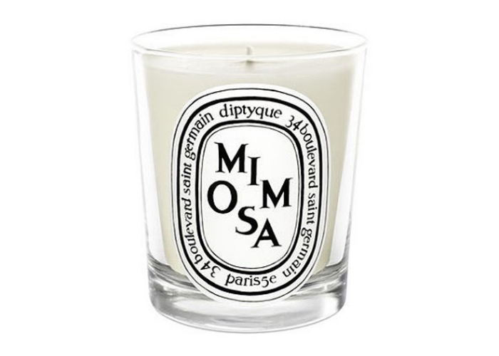 white mimosa candle