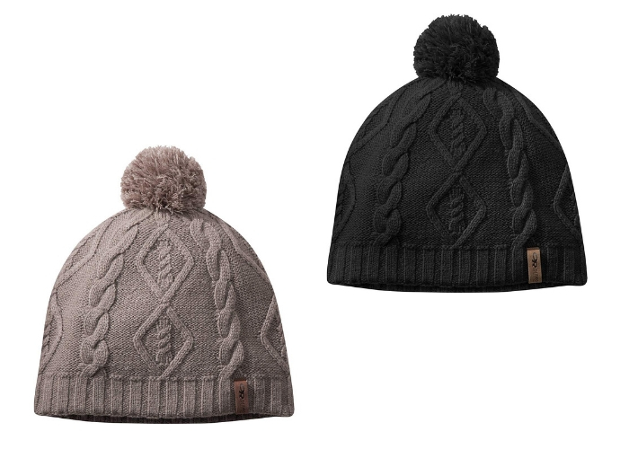 gray and black beanies with pom on top