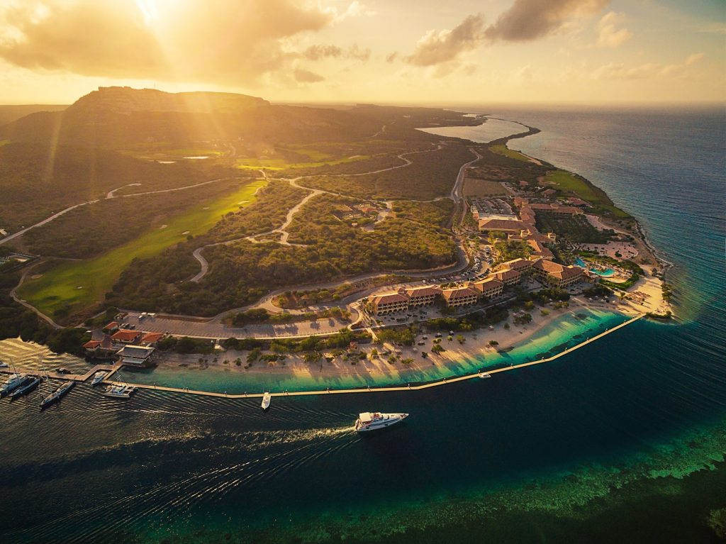 aerial view of resort on island curacao