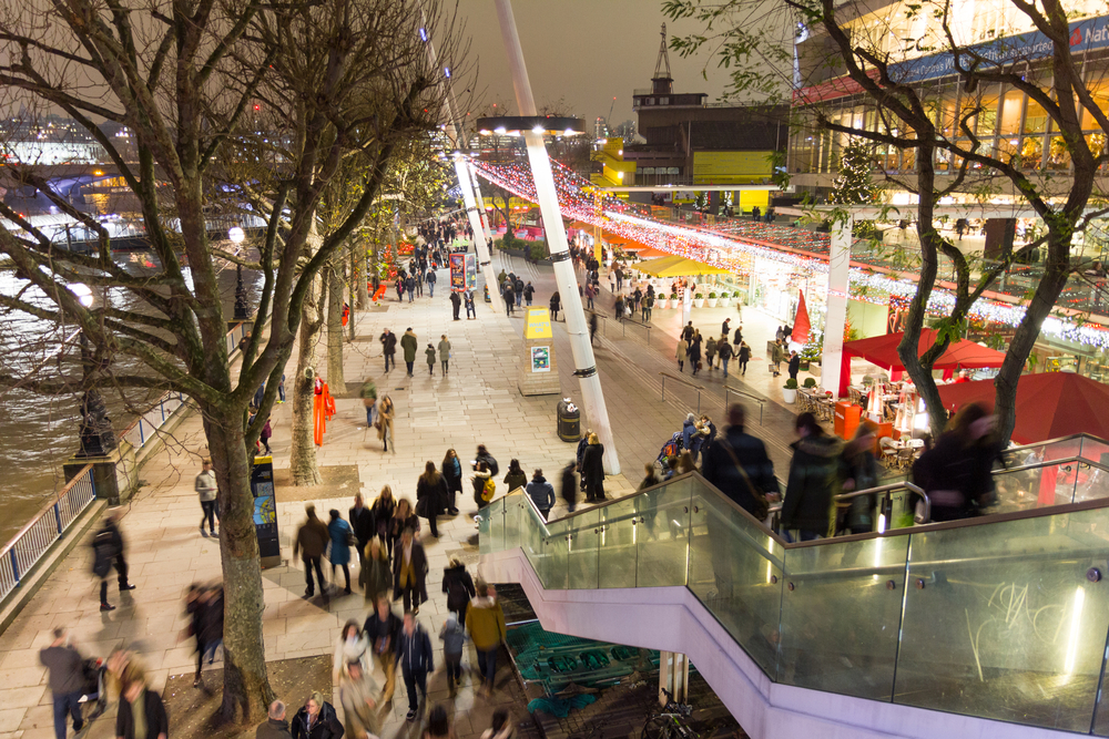 christmas market display in modern part of london