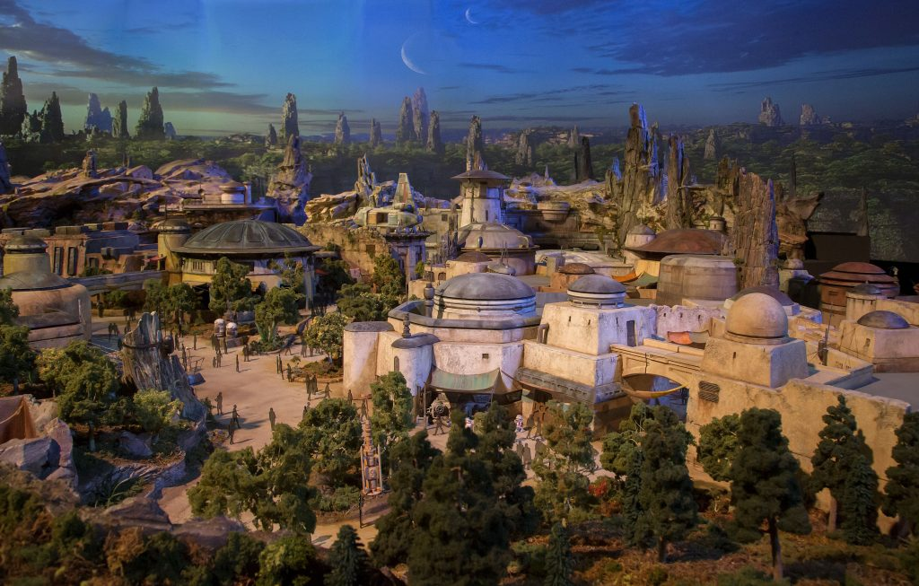 fully detailed model of star wars-themed lands at disney