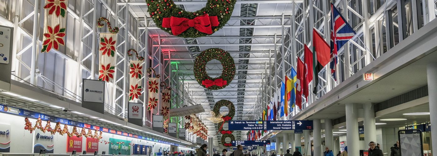 airport decorated for the holidays