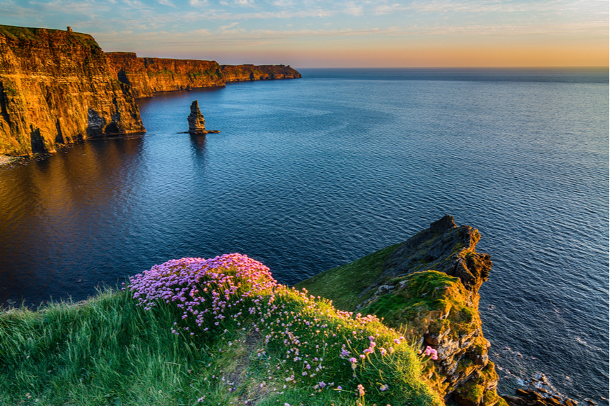 cliffs of moher ireland sunset.