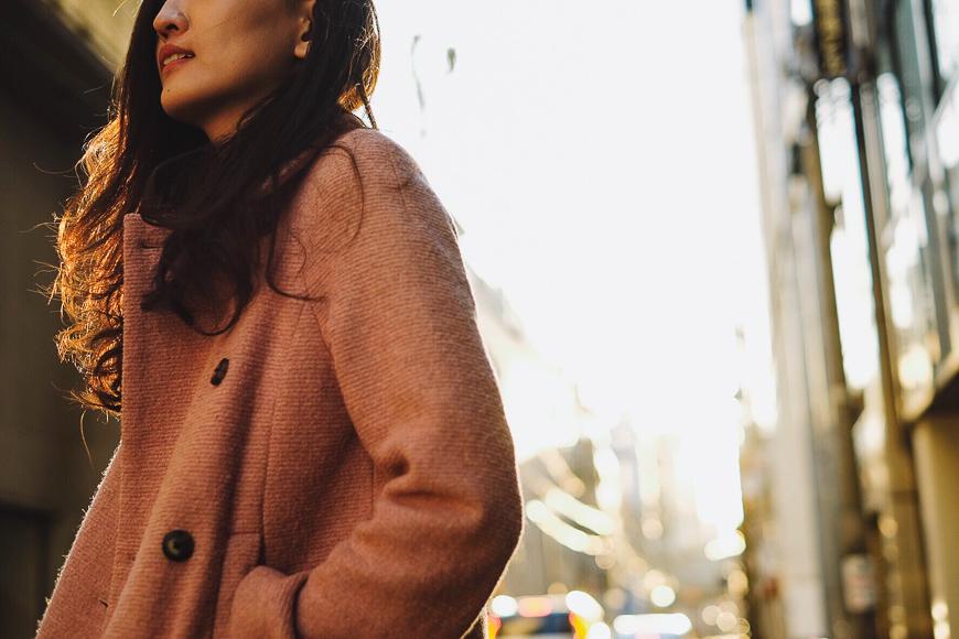 woman wearing wool coat