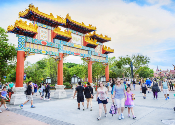 Celebrity Travel: folk walking previous ornate chinese language-style gate