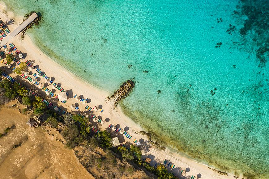 playa porto mari beach curacao aerial view.