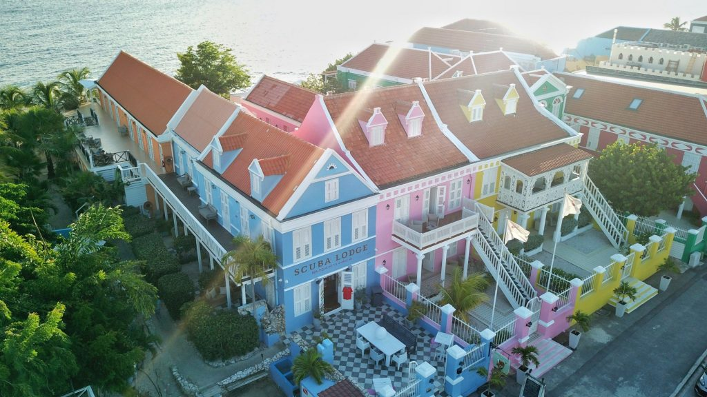 aerial view of colorful hotel on caribbean island