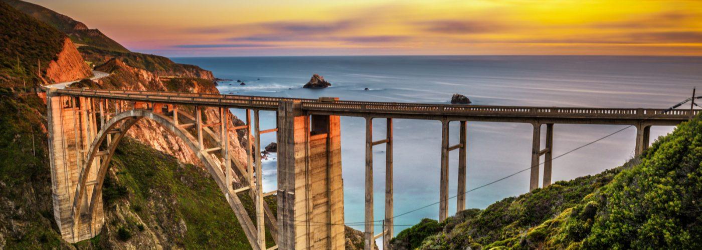 bridge big sur at sunset