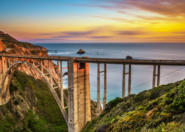 bridge big sur at sunset