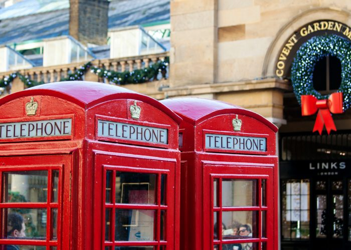 london phone booths holiday decorations