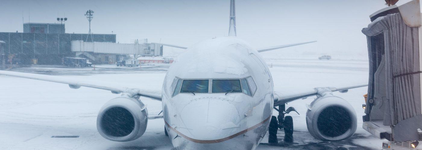 winter flight in snow