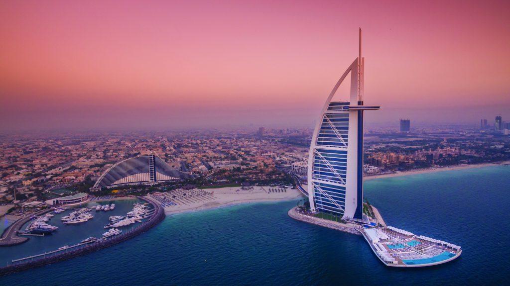 famous hotel burj al arab from a distance