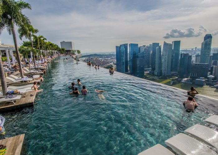 Famous hotel Marina Bay Sands rooftop infinity