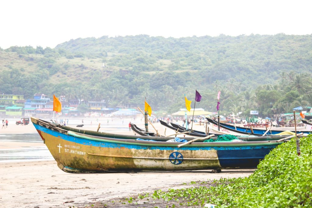 Goa india beach with boats