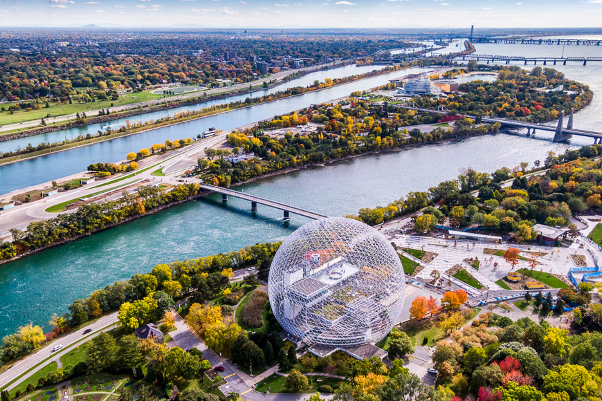 Aerial view of Montreal showing the Biosphere Environment Museum and Saint Lawrence River during Fall season in Quebec, Canada.