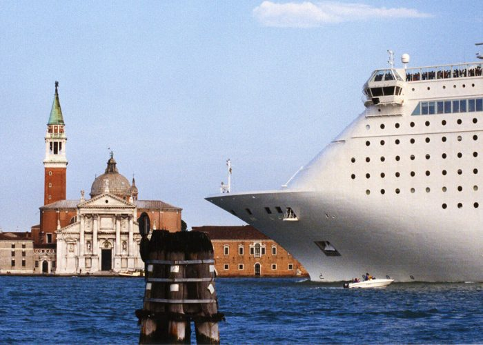 cruise ship in Venice dwarfing cathedral