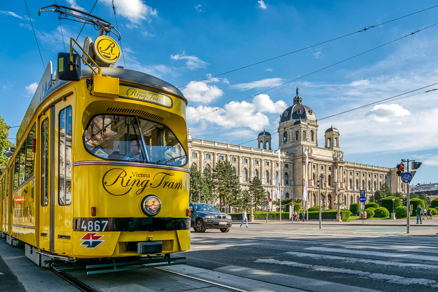 "Nostalgic yellow tram ""Vienna Ring Tram"" in front of Kunsthistorisches Museum (Art History Museum) on Ringstrasse in Vienna, Austria."