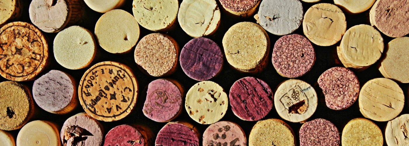 Wine corks arranged in a pattern