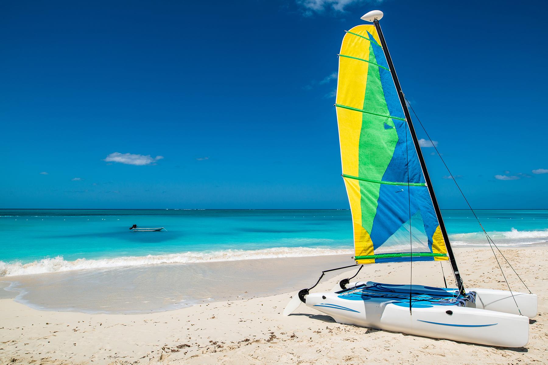 catamaran on turks and caicos beach