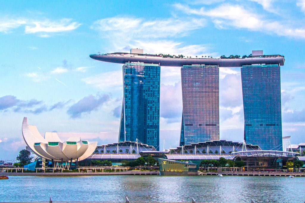 famous hotel marina bay sands from afar