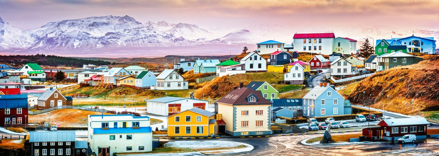 colorful village in iceland