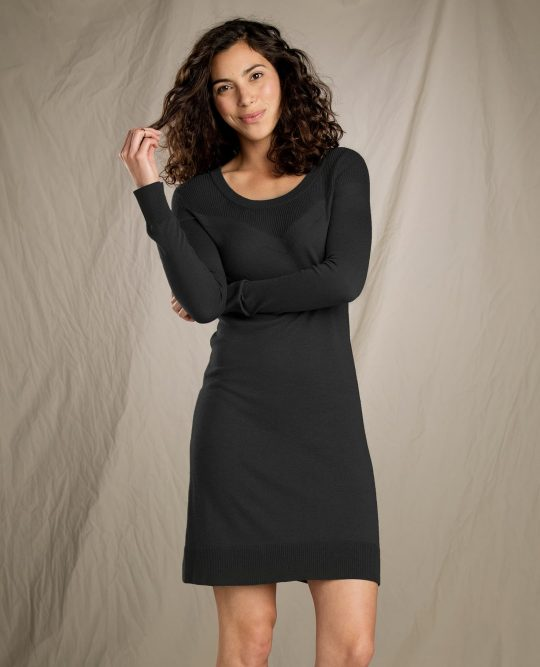 woman wearing toad & co's cambria sweater dress