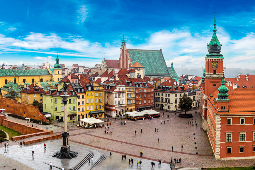 Panoramic view of Warsaw in a summer day in Poland