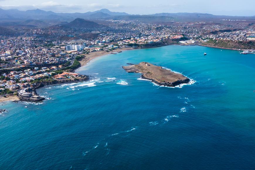 Aerial view of Praia city in Santiago - Capital of Cape Verde Islands