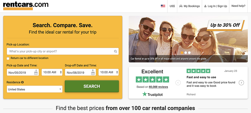 RentCars.com rental car booking site.