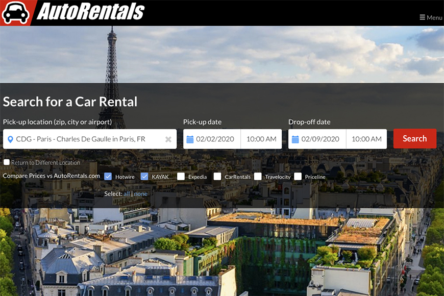 autorentals.com screenshot.